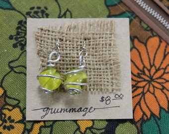 Vintage Yellow Glass Marble Wire Wrapped Earrings