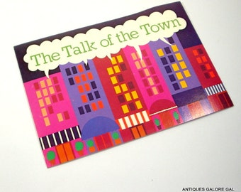 Vintage Novelty Postcard, Talk Of The Town, Kitschy, Drawing Board Greeting Card, Cityscape, Pink, Purple  (178-14)