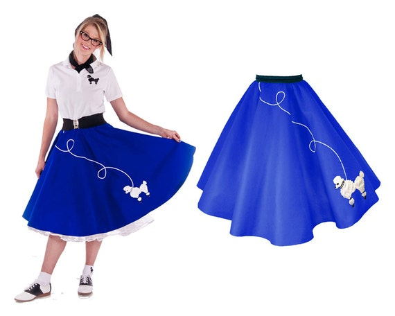 50 s poodle skirt royal blue with white by