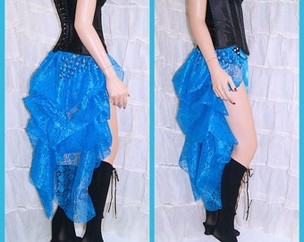 Shimmery Turquoise Blue Lace Bustle Wrap MTCoffinz - All Adult Sizes