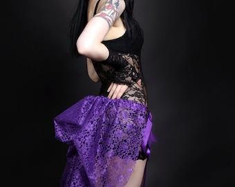 Short Purple Lace Mid Length Bustle Wrap MTCoffinz - All Adult Sizes