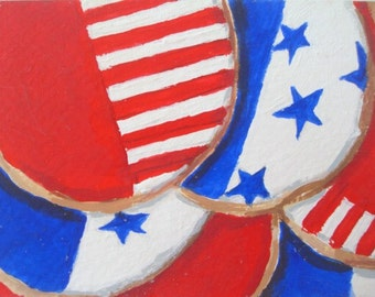AMERICAN FLAG Cookies - ACEO Mini Painting by Rodriguez