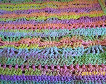 hand crochet baby / toddler afghan 38 x38