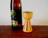 Ceramic goblet with perforated stem, yellow wine cup, small chalice