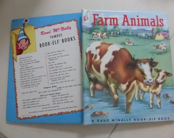 Vintage Childrens Book Rand McNally Elf Book Farm Animals by Anna Ratzesberger Illustrated by Marguerite Gayer