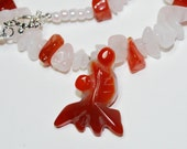 "Goldfish Necklace, Goldfish Choker, Koi Choker, Hand Carved Agate Pendant,  Polished Quartz, Carnelian Nuggets, 16""  Choker,  Carp Necklace"