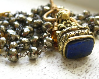 Victorian Lapis Fob Charm Necklace-Veritas-Made to Order