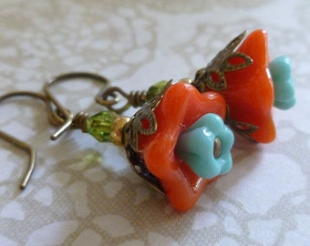 Bright Flower Earrings in Orange and Turquoise Czech Glass and Antique Brass