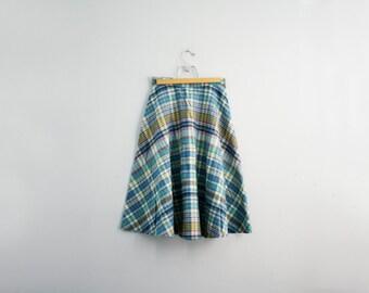 vintage 70s Blues & Pinks Sweet Wool Skirt XS S