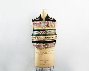 vintage 80s Cropped Southwest Black & White Biker Style Vest