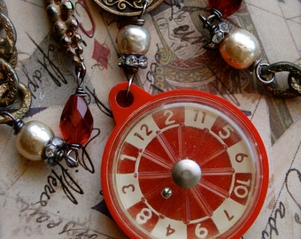 Roulette-Antique Vintage Miniature Roulette Game Souvenir Assemblage Necklace