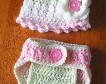Newborn Hat with matching diaper cover… Pastel green and pink… Photo prop… Ready to ship