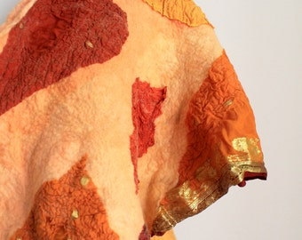 Nuno Felted Silk Scarf - Treasure box full with Amber and Gold
