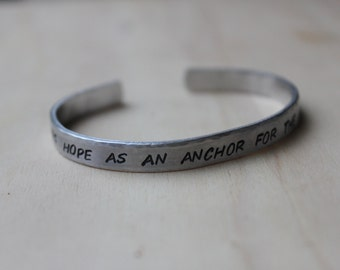 FREE SHIPPING. Hope as an Anchor Handstamped Cuff Bracelet. Silver Aluminum. 6:19