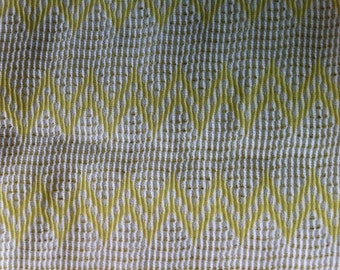 """38"""" wide 2 yards 30"""" White with Yellow Zigzag Fabric"""