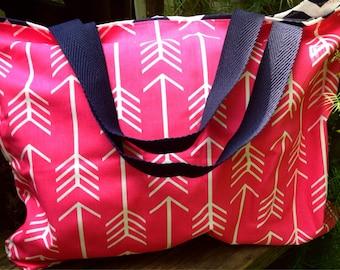 Diaper bag, pink disper bag, large tote, large bag, navy chevron tote, navy chevron diaper bag, large tote, tote, reversible tote