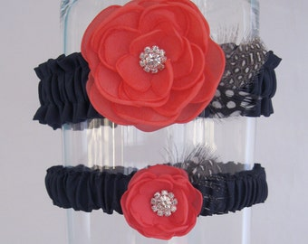 Wedding Garter Coral Navy, Flower Garter Set K291 _ weddings garter accessories