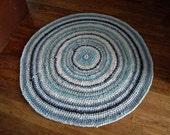 ON HOLD For VANESSA ~ Light Blue, Dark Blue, White and Cream Circular Crocheted Rag Rug
