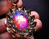 Spiked Fire Opal Necklace // Dragon's Breath Necklace // Spike Jewelry // Gothic Necklace // Galaxy Necklace