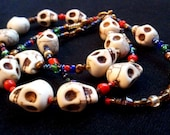 Deep Rich Multi Colored Vintage and Howlite Scull Bead Bracelet (123)