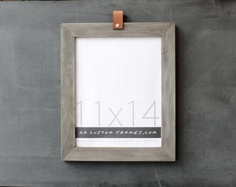 11x14 leather collection picture frame (driftwood gray) . 11x14 handmade picture frame