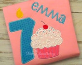 Personalized Birthday Cupcake Pajamas for Girls - DipsyDoodlebug