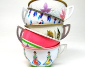 50s Tin litho Toy Tea cups, Maids & leaves in pink green white on 5 metal.