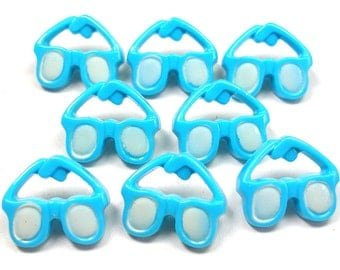8 Sunglass BUTTONS, Turquoise blue plastic with eyewear design.