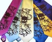 Mens necktie, custom colors. original art work. skull tie by RokGear