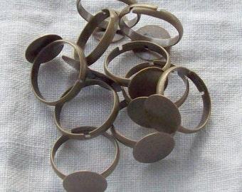 Antique Bronze Adjustable Ring Shank Sets