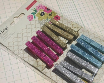 Glitter Clothespins - Clothes Pins Pink Gold Silver Blue - Crate Paper - 12 Pieces