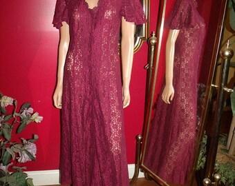 Vintage Lace  Dress Flapper  does 20-30s  Tea Party Wedding Size 9/10