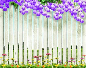Flowers On The Fence 10ft x 10ft Backdrop Computer Printed Photography Background XLX-074
