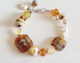 Rustic Amber Bracelet Lampwork Sterling Silver Bracelet by keiara SRA