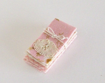Rose Tea Towels Shabby Chic Dish Pink 1:12 Dollhouse Miniatures