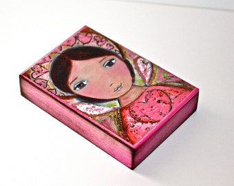 Sweet Heart Angel - Aceo Giclee print mounted on Wood (2.5 x 3.5 inches) Folk Art  by FLOR LARIOS
