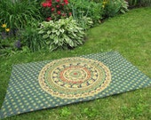 Green Elephant Tapestry Picnic Blanket , Stake Down Design