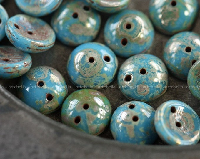 BLUE PIGS .. 20 Premium Czech Picasso Glass Piggy Beads 8x4mm (4017-20)