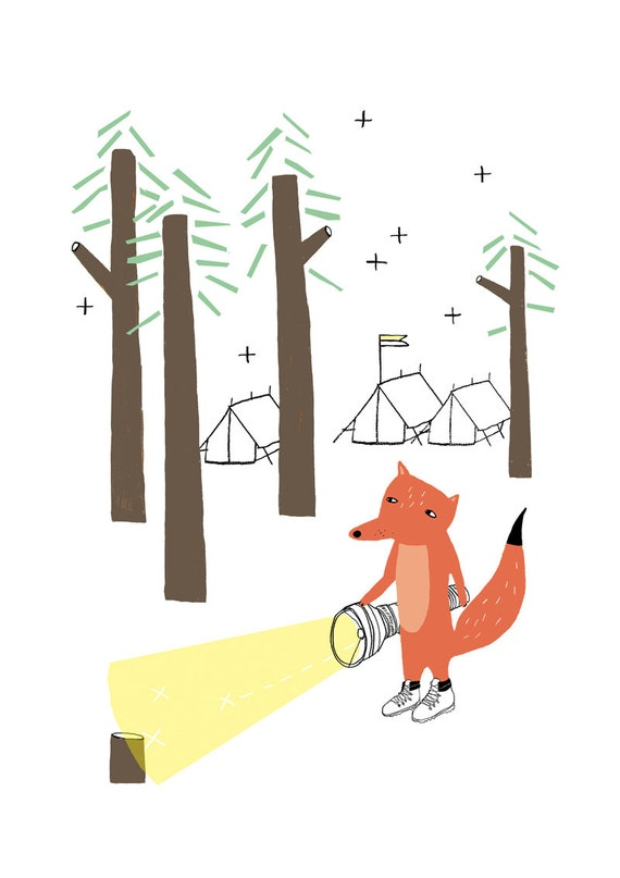 SALE - Print - Fox in the woods - nursery decoration - kids room decoration - fantastic mr fox