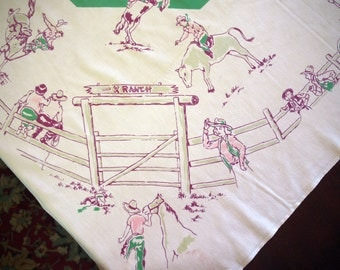 VinTAgE TaBLeCLoth -whimsical startex Rodeo