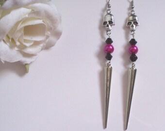 Handmade silver spike and skull dangle earrings (hook or clip)