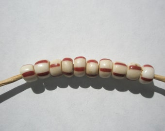 Antique Striped Pony Trade Beads, White/Maroon - 6mm - 10