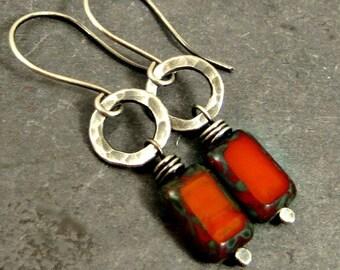 Orange Earrings, Dangle Earrings, Fall Earrings,Fused Fine Silver Jewelry, Gifts for Her