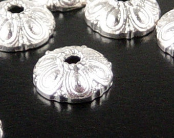 Silver Bead Cap 50 Shiny Silver Flower Victorian 10mm NF (1129cap10s1)xz