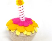 Felt Play Food Toy Cupcake with Candle and Yellow Orange and Fuscia Frosting