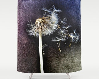 The Last Dance,Shower Curtain,dandelion,flower,seed,weed,minimalistic, modern,home,bathroom,nature,fine art,photography,inspirational,bath