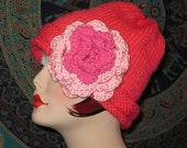 On Clearance Spring and Easter  Handmade Knit Beanie with Crochet Rose in Watermelon