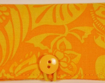 Fabric Business Card Holder Yellow Lotus