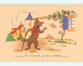 Fox postcard, vintage dressed fox postcard - Wonderful fox looks at grapes French postcard, vintage French village