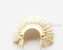 One Piece Matte 16K Gold Plated Base Metal Pendant - Indian Headdress - 37x37mm (478C-S-255)